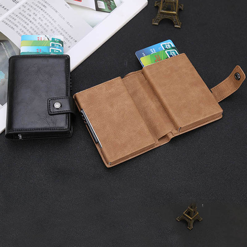 Maideduod 2019 Credit Card Holder Men and Women Aluminum Alloy Case PU Leather Fashion Wallets ID Purse