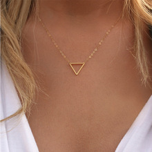 Hot Charm necklace metal triangle Pendant Necklaces ladies gift Wholesale metal triangle pendant necklace