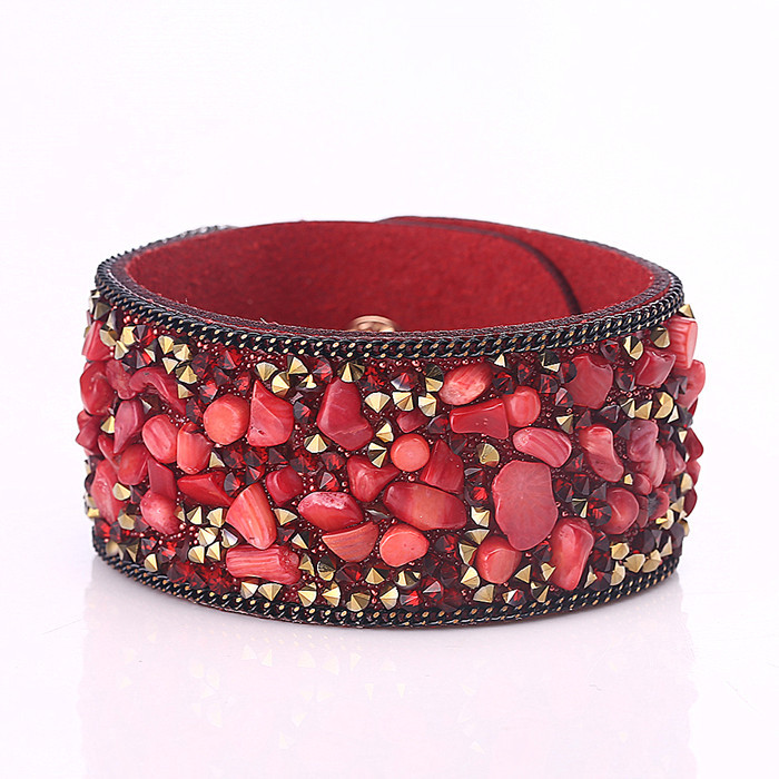 Christmas Gifts Fashion Wrap Cuff Bracelets Slake Leather Bracelets With Crystals Natural Stone For Women Girls Jewelry 2 8 21CM in Chain Link Bracelets from Jewelry Accessories