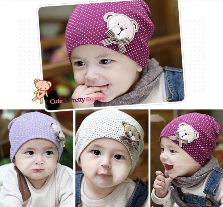Infant Cute Winter Autumn Newborn Crochet warm Cotton Baby beanie Hat Girl Boy Cap Children accessories Unisex Bear
