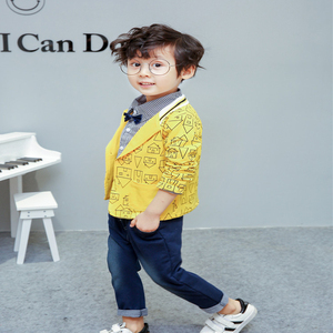 Image 3 - toddler boys clothing 3 pieces/set childrens wear Korean version fall clothing house print jacket + t shirt + jeans baby suit