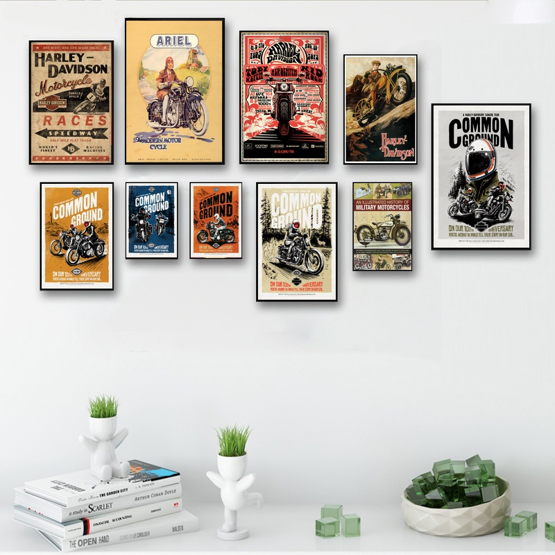 Abstract Vintage Retro Motorcycle Art Wall Art Paint Wall Decor Canvas Prints Canvas Art Poster Oil Paintings No Frame скуби ду лего