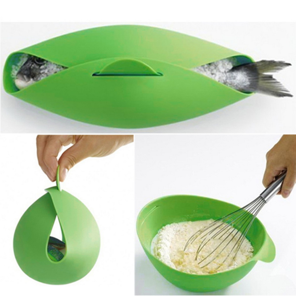 2015 New Hot Home Kitchen Microwave Oven Steamer Soft-paste Silicone Folding Bowl Baking Fish Steam Roaster Bread Food C