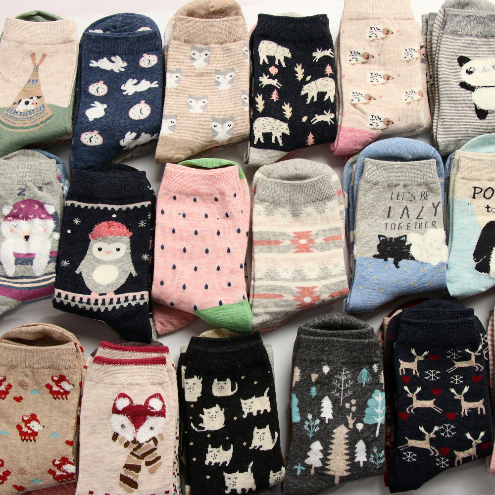 2Pairs Comfortable Animal Ear   Socks   19 Patterns Lovely Women Short   Socks   Fashion Soft Cotton Ankle   Socks