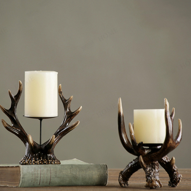 Retro Candle Holders Decorations Candle Holder Wedding Wooden Lantern Candlestick Menorah Christmas Mumluk Container Art Antlers