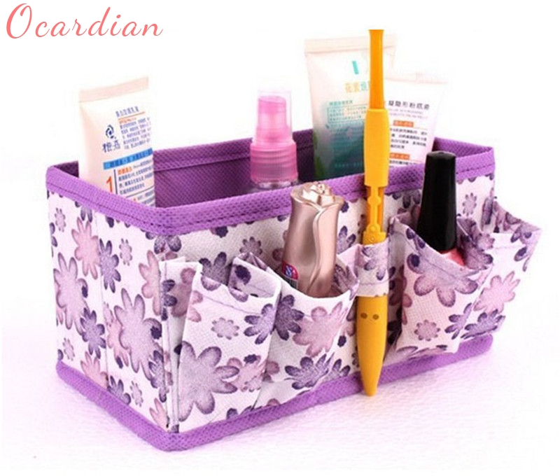 Ocardian Elegance New Qualified Storage box New Makeup Cosmetic Bright Organiser Foldable Stationary Container Dropshipping multifunctional car storage box container beige