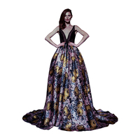 Sunvary Custom Sexy Vintage Floral Celebrity Dress Deep V Neck Party Gown Backless Tulle Ball Gown