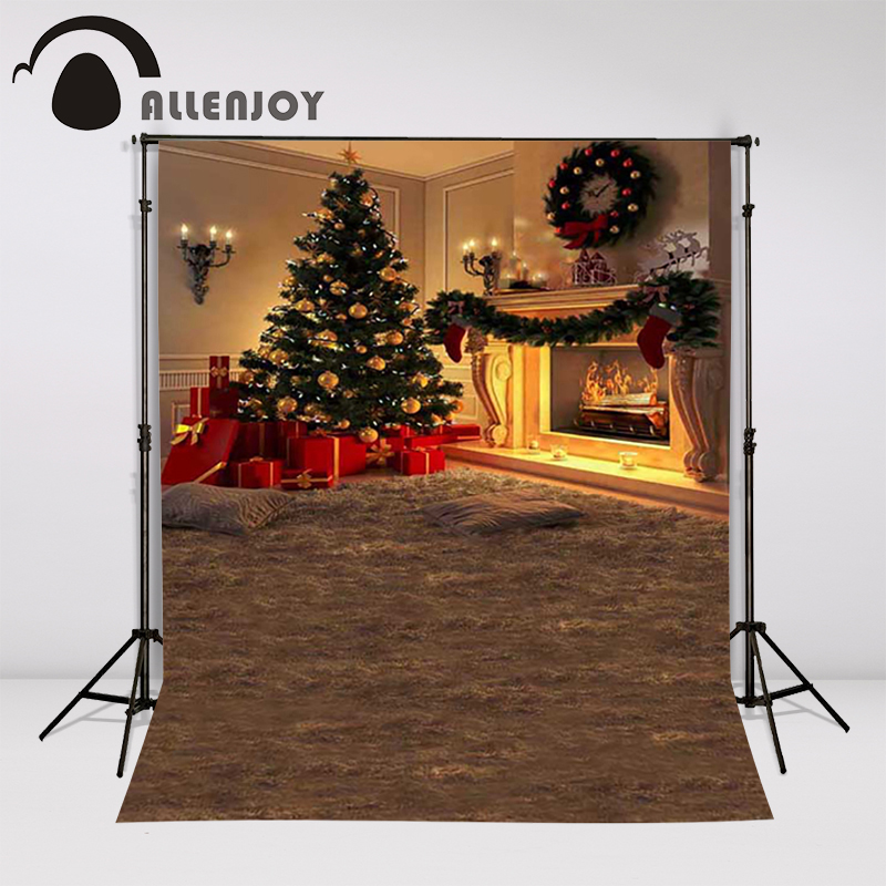 Allenjoy Christmas backdrop photography tree fireplace present garland home background studio vinyl children's photocall christmas tree photography background christmas lights fireplace wall decors backdrop xt 4525