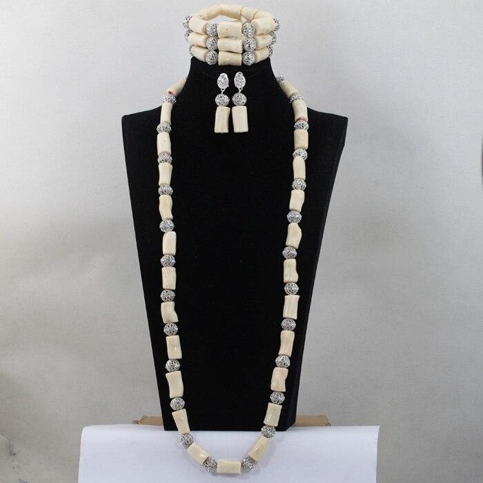 Chunky africain blanc corail perles collier ensemble nigérian mariage africain perle femmes collier ensemble Long collier livraison gratuite CJ460
