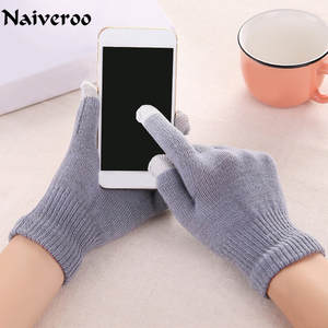 Winter Gloves Touch-Screen Knitted Women Plus Five-Fingers Wrist for Man And Thick Chic