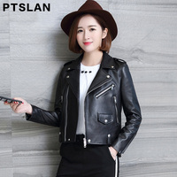 Ptslan Ladies Real Sheep Jacket Motorcycle Motorbike Genuine Leather Jackets Basic Good Quality