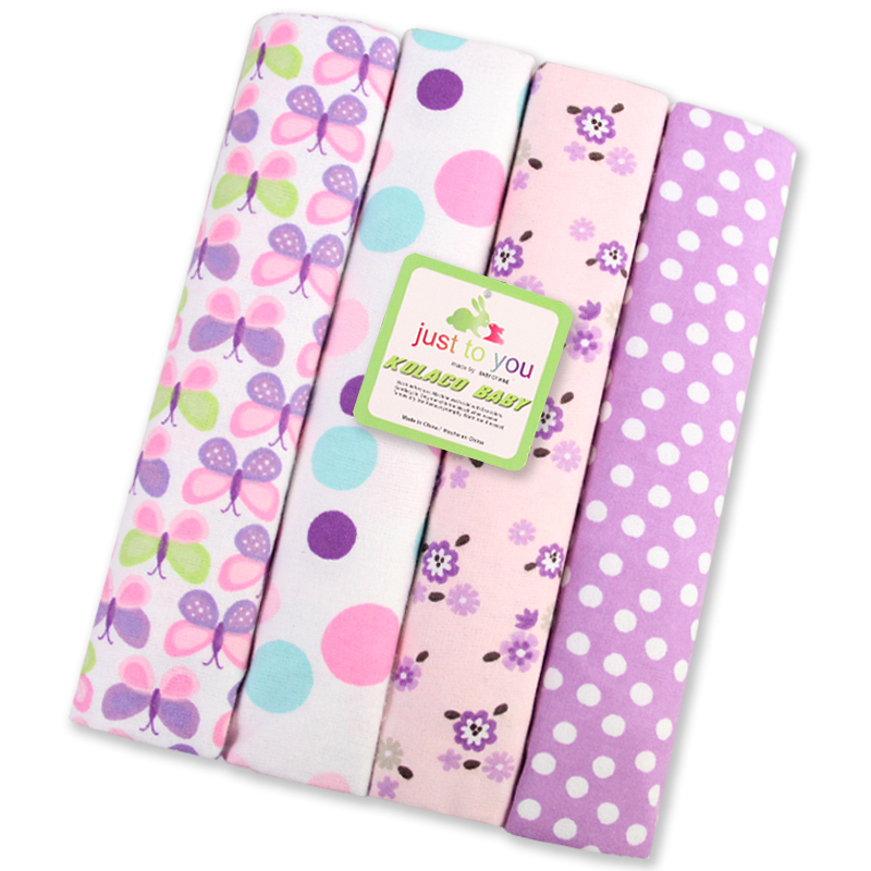 Summitkids New 4pcs pack 100 cotton Flannel Blanket Baby Swaddle For Baby Blankets Newborn children bedsheet supersoft blanket in Blanket Swaddling from Mother Kids