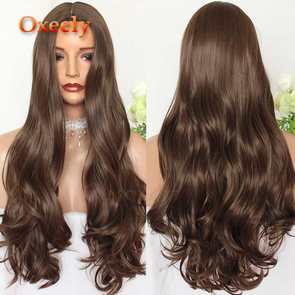 Oxeely marrón Pelo Largo ondulado sintético completo pelucas #8 cuerpo onda seda Base peluca parte profunda seda Top largo cabello resistente al calor para mujer