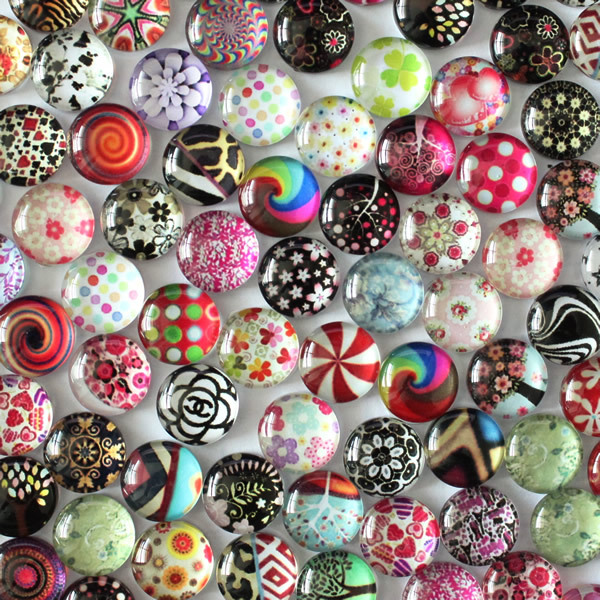8mm 10mm 12mm 14mm 16mm 18mm 20mm Random Mixed  Round Pattern Glass Cabochons Flatback Photo Dome Cameo Pendant Settings K02711