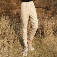 Для женщин овчины Натуральная кожаные зауженные брюки новые женские роскошные из натуральной кожи мотобрюки элегантный брюки для девочек