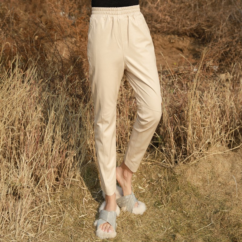 Women Sheepskin Genuine Leather Pencil Pants New Lady Luxury Real Leather Trousers Elegant Pants Autumn Elastic Waist Streetwear in Pants amp Capris from Women 39 s Clothing