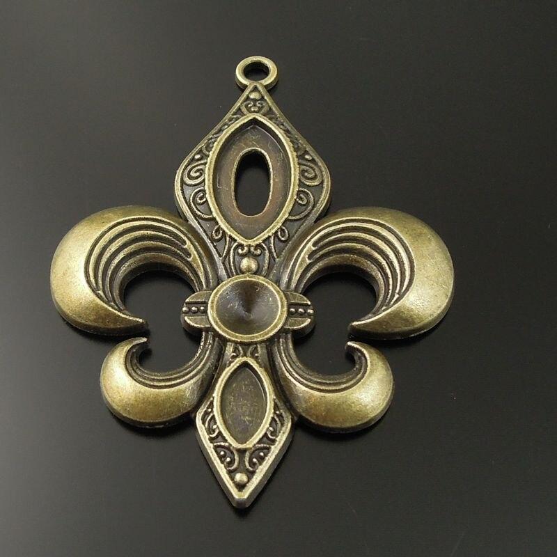 Vintage 5 unidades/pacote antigo bronze liga de zinco borboleta fleur-de-lis colar pingente jóias encantos 62*52mm liga jóias do punk