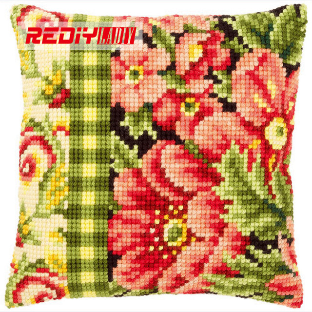 Online Shop REDIY Cross Stitch Cushion Cover POPPIES FLOWERS Unique Poppy Floral Decorative Pillows