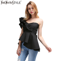 TWOTWINSTYLE 2017 Summer Bra Bralette Women Tops Tank Vest Ruffles Off Shoulder T Shirts Female Sleeveless Lace up Tunic Blouse