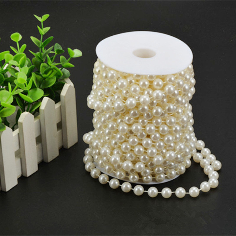 White Pearl Beads Strand Garland Acrylic Wedding Pearl: 8mm ABS Plastic Faux Pearl Beads Strands Wedding Garland