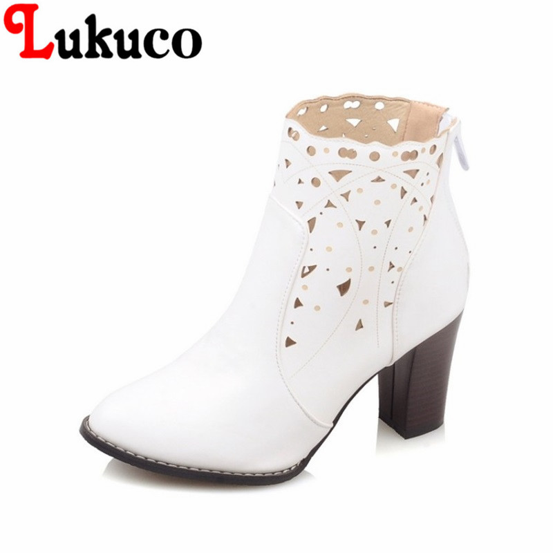 2017 fashion style Pointed Toe lady shoes size 34-46 Square heel Ankle Boots high quality low price super bargain women boots