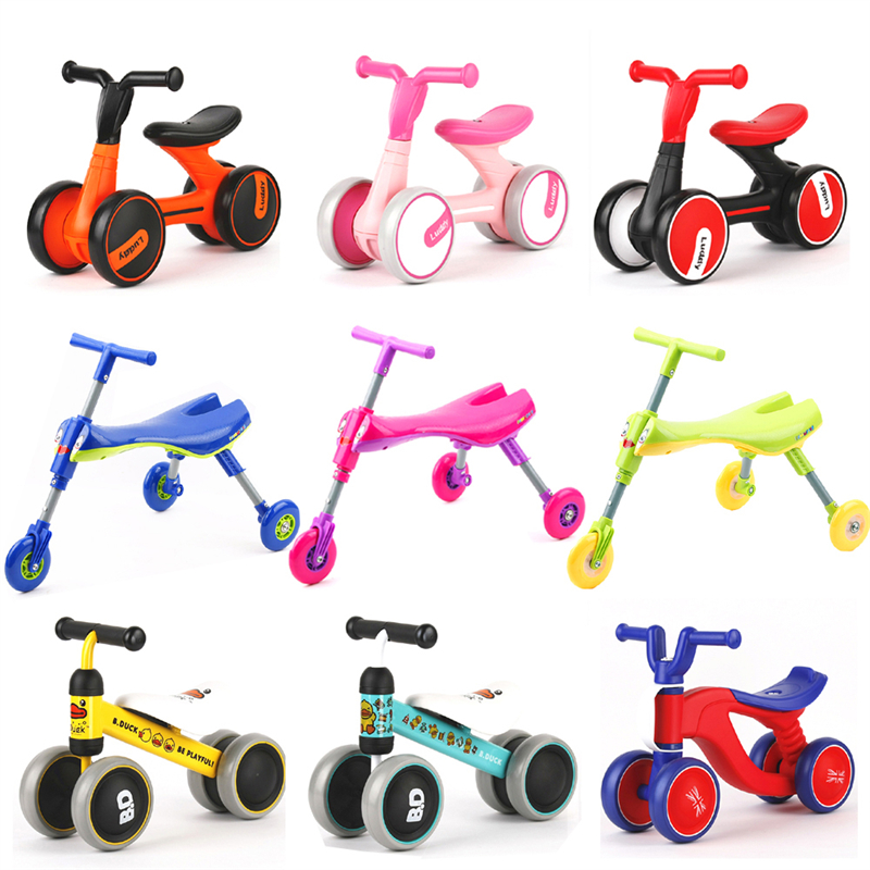 Baby No Foot Pedal Bike Riding Toys Foldable Indoor Outdoor Toddlers Glide Tricycle Three Wheel Balance Bike Scooter Baby Walker
