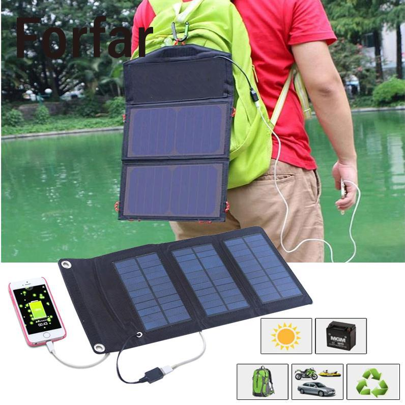 Forfar 5W Foldable Solar Panel Battery Charger USB Power Bank for Cellphone Black outdoor tool