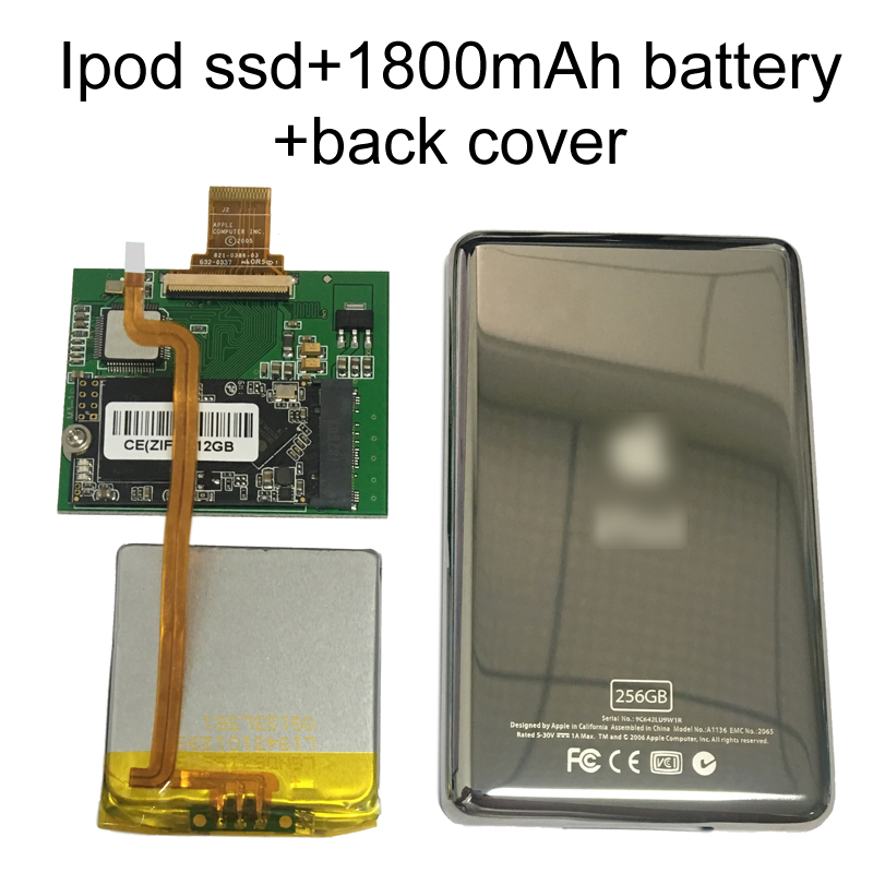 Nouveau SSD 128G 256G 512G pour Ipod classic 7Gen 7th 160GB Ipod video 5th remplacer MK3008GAH MK8010GAH MK1634GAL Ipod HDD disque dur