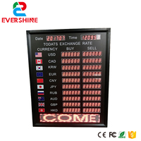 LED electronic display sign Multinational exchange rate dispaly led date and time panel bank Exchange rate board