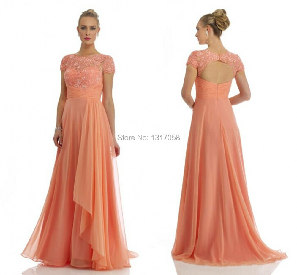 Elegant Scoop Neck Lique Income Beaded Lace Chiffon Long Peach Modest Plus Size Mother Of The Bride Dresses 2017 New In From