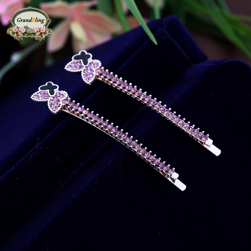 New Arrival Fashion Crystal Butterfly Hair pins Barrette For Girls Hair Jewelry font b Women b