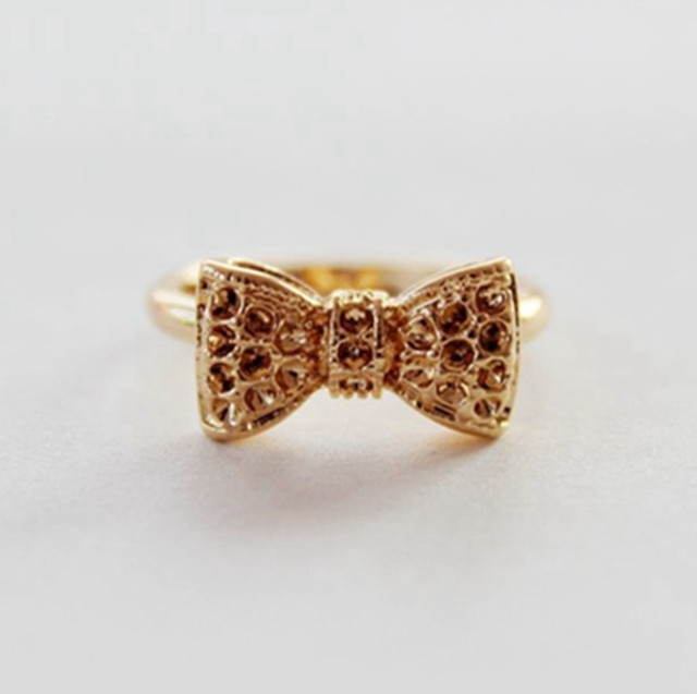 Vintage Cheap Jewelry Love Gold Crystal Bow Ring Girl Bijoux Bowknot Midi Finger Ring Bague  Wedding Engagement Ring