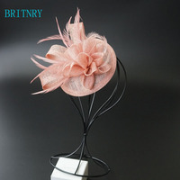 BRITNRY New Arrivals Party Wedding Hats and Fascinators Pink Black Evening Flower Hat