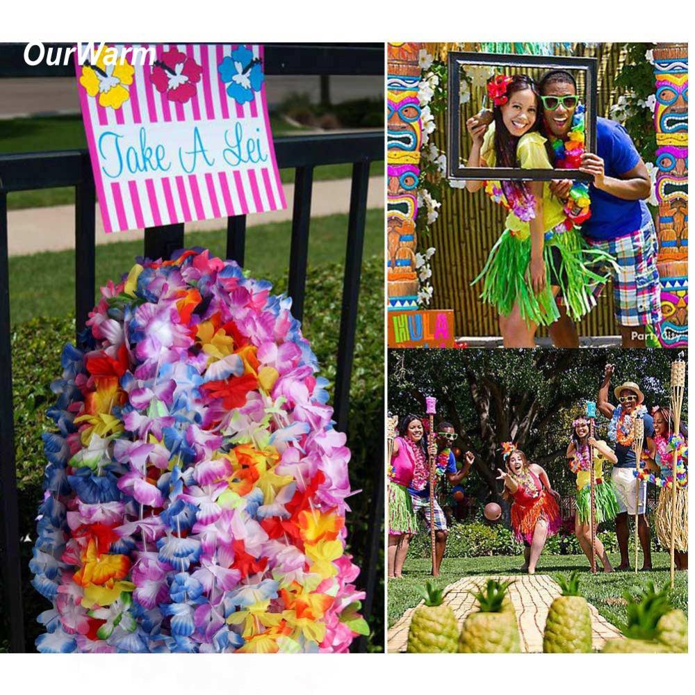 US $9.99 9% OFFOurWarm Hawaiian Party Decorations 9pcs hawaii lei Silk  Garland Necklace Artificial Flowers Decoration Luau Party DecorationsParty