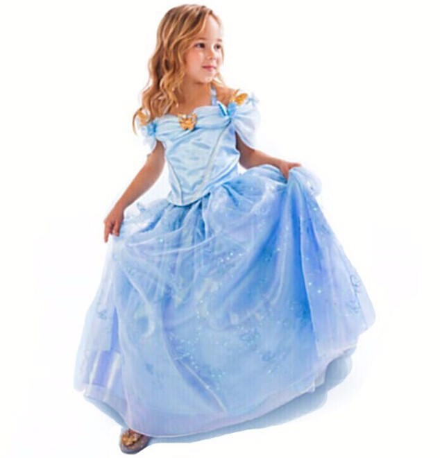 New Christmas Gift baby girls Dress Cinderella Cosplay Costume Party Dress Princess Dress Cinderella Costume