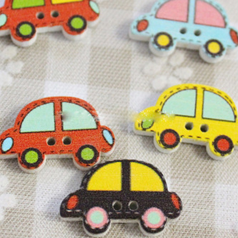 50pcs/Lot 16x25mm Colorful Wood Sewing Painting Decoration Buttons Scrapbooking Car Pattern Mixed Buttons Toys For Children