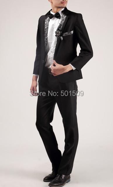 Envío libre para hombre negro/blanco lentejuelas cuello esmoquin chaqueta y pantalones trajes set funcionamiento de la etapa/evento traje