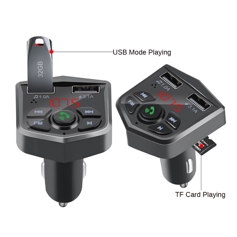 Image 2 - Bluetooth 5.0 Car Kit Handsfree Wireless Bluetooth FM Transmitter Car MP3 Player 3.1A Quick Charging Dual USB Charger TF Card Z2-in Bluetooth Car Kit from Automobiles & Motorcycles