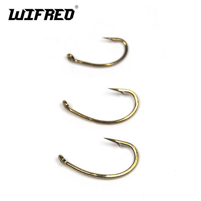Wifreo Super Deal 500pcs Fly Hook Nymph Bug Shrimp Pupae Larvae Caddis Fly Tying Fish Hooks #8 #10 #12 #14 #16 Gold Bronze Sharp