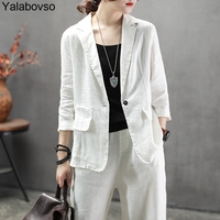 2019 Summer Linen Suits for woman Thin All Match Sets female with white or black colors Tops+pants Woman sets A0BZ30