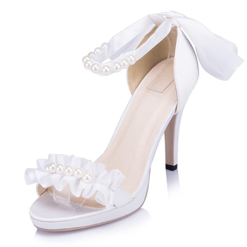 Elegant Satin Bridal Shoes Flower White Ivory font b Women b font Party Shoes Plus Size