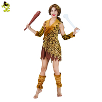 Adult S Women S Indian Costumes Leopard Flintstone African Halloween Tribal Hunter Clothing Savage Caveman Costumes