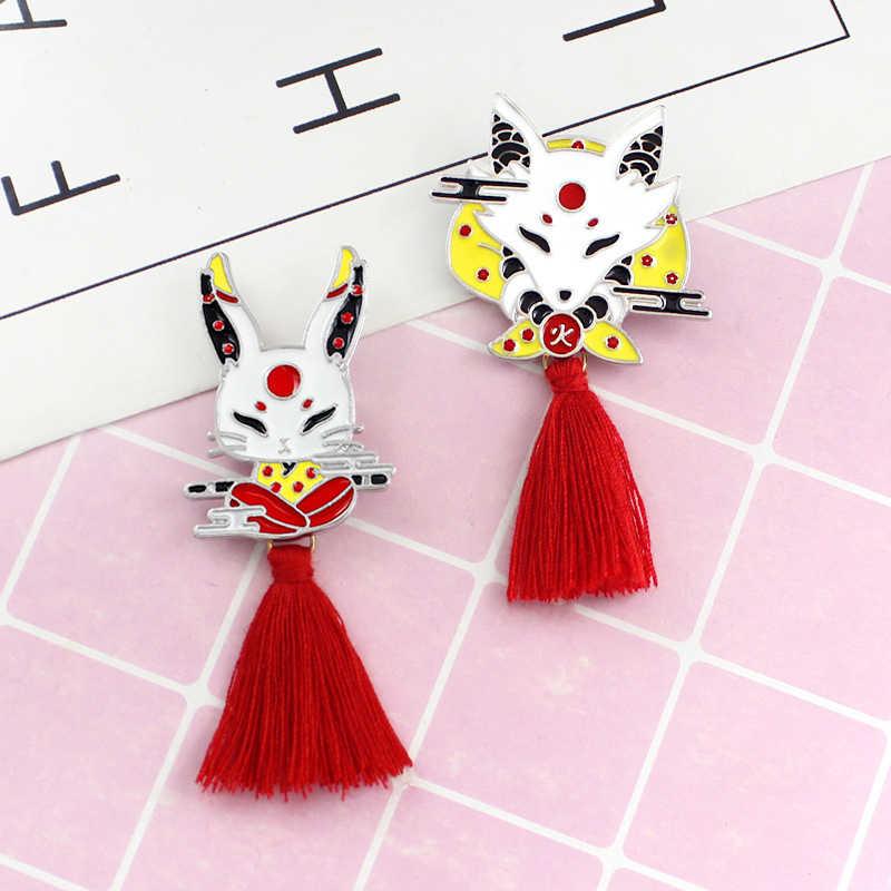 1PC dziewczyny Tassel Kendo czerwony wąż Deer Rabbit sweter Sika zwierząt emalia plecak odznaka prezenty dla przyjaciół długi Fox broszka dla kobiet