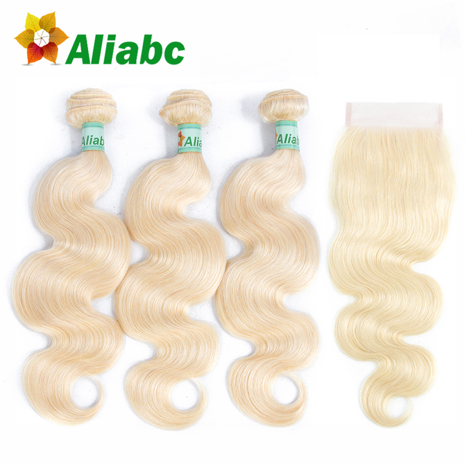 Aliabc Brazilian Body Wave 100 Human Hair Weave 3 Bundles With Lace Frontal Closure Non remy