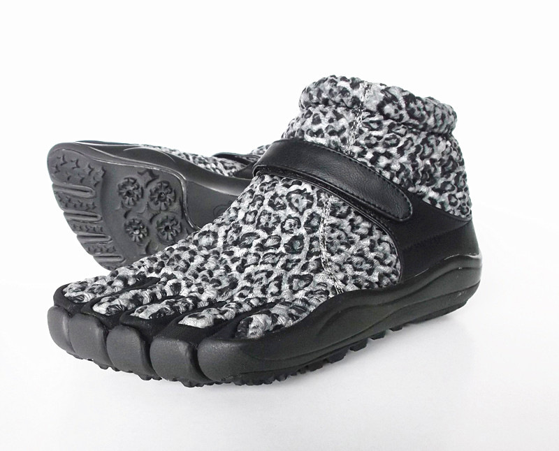 Autumn Winter New Womens High Cut Five Fingers Shoes Outdoor Leopard Breathable Warm Thick Bottom 5 Toes Walking Sneaker