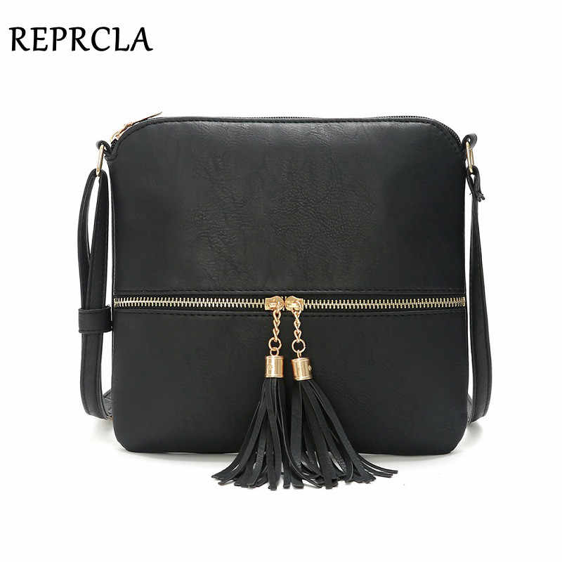 b5c15f369 REPRCLA Fashion Tassel Women Bag PU Leather Flap Shoulder Messenger Bag  Luxury Handbag Designer Crossbody Bags