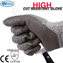 NMSafety, высокое качество, CE стандарт, устойчивые к порезам, уровень 5, противоударные рабочие перчатки
