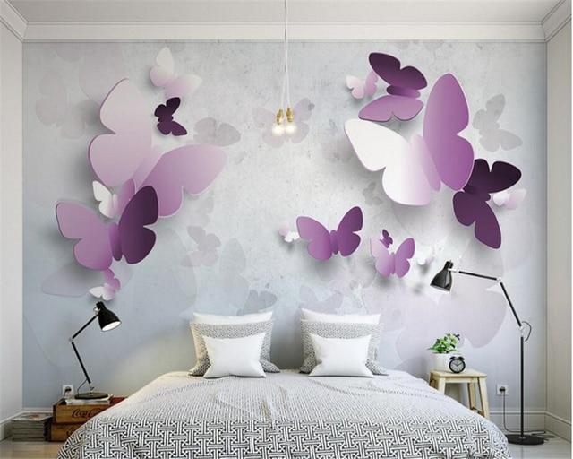 beibehang 3D Advanced Decorative Studio Simple Wallpaper 3D Very Pretty Butterfly TV Wall Frescoes papel de