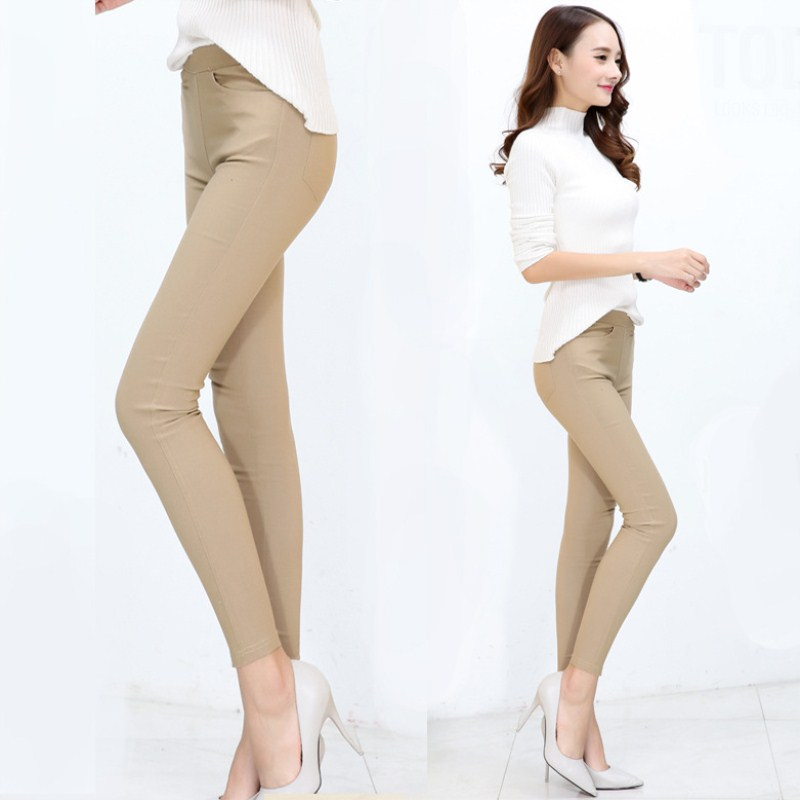WKOUD Skinny Leggings Women Solid High Waist Khaki Pencil Pants Stretch Plus Size Leggings With Pockets Female Trousers P8934