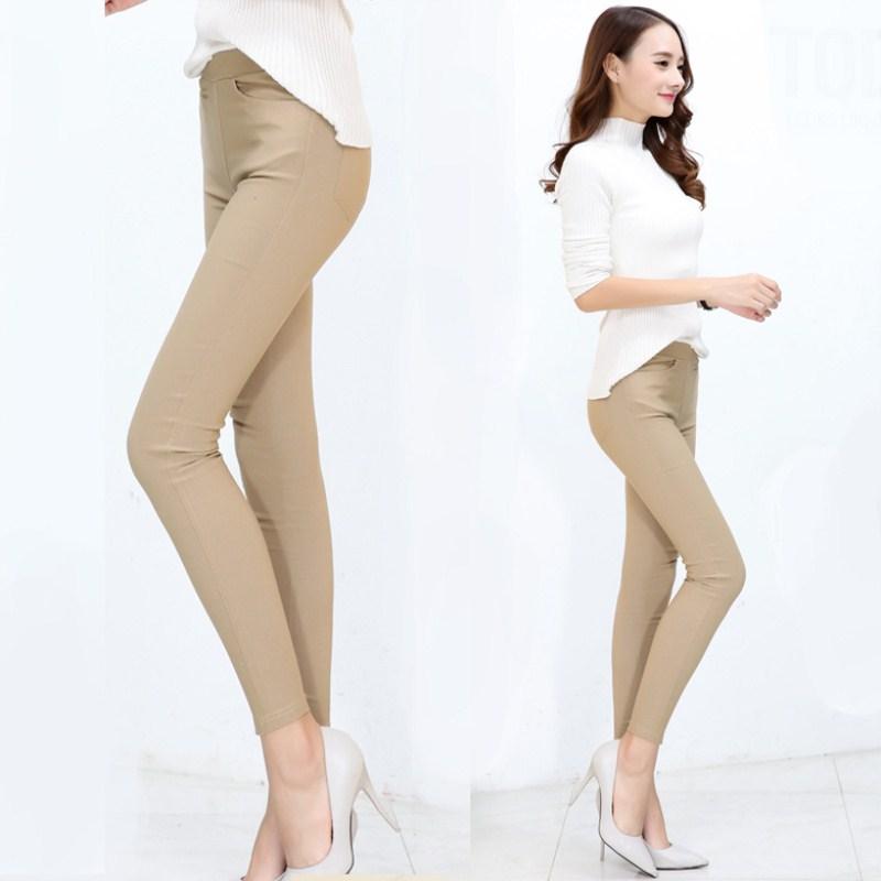 WKOUD Skinny Leggings Women Solid High Waist Khaki Pencil Pants Stretch Plus Size Leggings With Pockets Female Trousers P8934